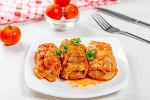 Delicious homemade stuffed with tomato sauce on the table