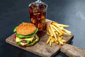 Delicious junk food-Burger, iced drink and fries (Flip 2019)