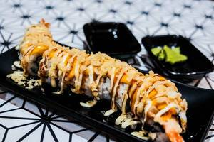 Delicious shrimp sushi served with wasabi