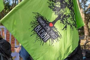 """Demonstranten mit """"Hambaches Forst Bleibt""""-Fahne bei der Fridays for Future Klimademo gegen den Klimawandel"""