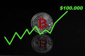 Der Bitcoin-Wert steigt auf 100.000$ - Bitcoin-Münze mit einer steigenden grünen Linie