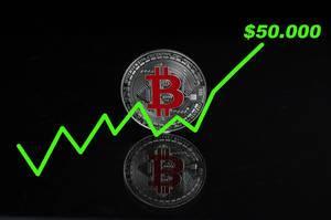 Der Bitcoin-Wert steigt auf 50.000$ - Bitcoin-Münze mit einer steigenden grünen Linie