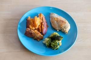 Der Inhalt einer Meal Prep Fertigmahlzeit Abnehm-Box mit Hühnerbrust, Broccoli und Süßkartoffeln auf einem blauen Teller