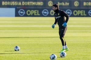Der Torhüter vom Borussia Dortmund, Roman Bürki, beim öffentlichen Training nach dem ersten Rückrunde-Spiel gegen Augsburg