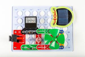 Designer for studying electricity generation with a solar panel and a voltmeter (Flip 2020)