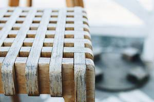 Detail of wooden chair. Close up.