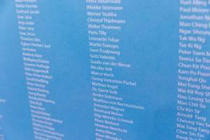 Detail von der Liste der Teilnehmer an dem Chicago Marathon 2019