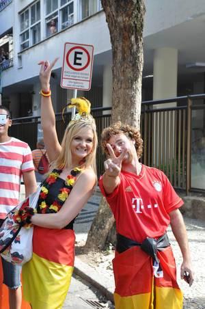 Deutsche Fußball-Fans auf den Straßen von Rio de Janeiro - Fußball-WM 2014, Brasilien