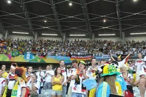 Deutsche Kurve nach de 7:1 Siegen gegen Brasilien bei der Fußball-WM 2014