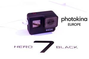 """Die GoPro Hero7 Black Actionkamera auf weißer Fläche, neben dem Bildtitel """"photokina Europe"""""""