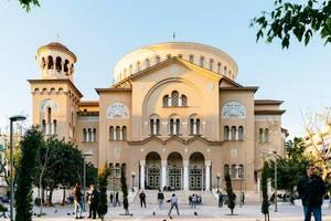 Die griechisch-orthodoxe Basilika und Kirche des Heiligen Panteleimon von Acharnai im Zentrum von Athen, Griechenland