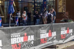 Die Presse vor Ort in Lahti, Finnland, zum Sportevent Ironman 70.3 Triathlon