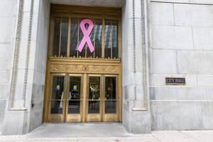 Die Rosa Schleife - Symbol im Bewusstsein gegen Brustkrebs - am Eingang vom Rathaus in Chicago