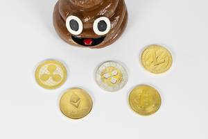 Different cryptocurrencies with poop toy
