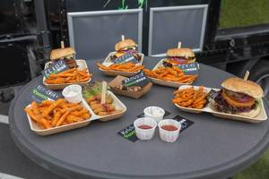 Different kinds of vegan burgers by Veggiewerk