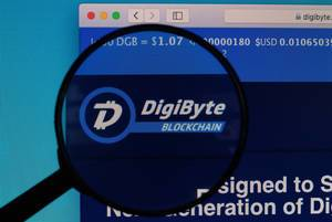 DigiByte logo under magnifying glass