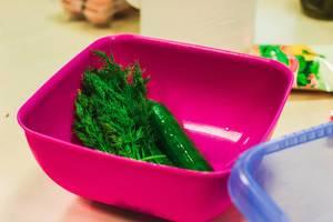 Dilll in a plastic bowl