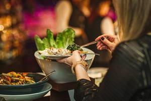 Diner Dish Asorti Picking At Hotel Restaurant