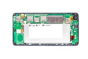 Disassembled phone components, top view