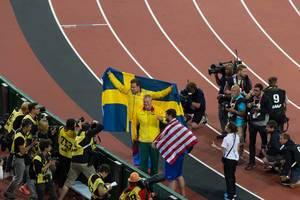 Diskuswerfer Andrius Gudzius, Daniel Stahl und Mason Finley bei den  IAAF Leichtathletik-Weltmeisterschaften 2017 in London