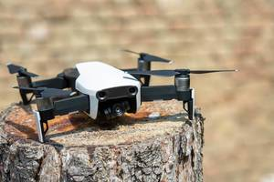 DJI Mavic Air drone parked on the tree stump (Flip 2019)