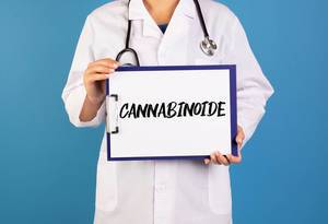Doctor holding clipboard with Cannabinoide text