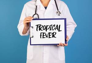 Doctor holding clipboard with Tropical fever text