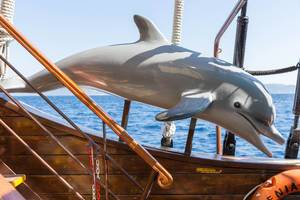Dolphin decoration piece on a Greek touring ship