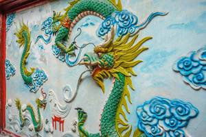 Dragon Engraving in On Lang Pagoda in Chinatown Saigon