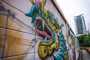Dragon Graffiti at the Canal in Bangkok