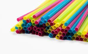 Drinking straws on white background