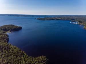 Drohnenbild vor der Insel Kalainsaari in Finnland mit großem Waldgebiet in unberührter Natur am Päijänne-See