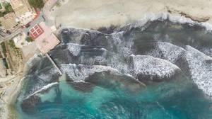 Drohnenfoto des Strands in Peguera, Mallorca