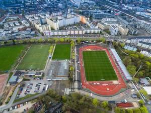 Drohnenfoto vom Südstadion und dem Gebäude des Klubs Fortuna Köln