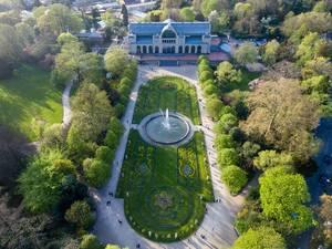 Drohnenfotografie: Flora Köln im Sonnenuntergang