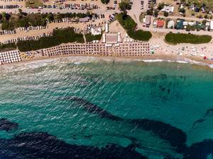 Drone photo of the sea, beach and the camping site Camping Paliouri