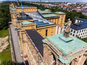Drone picture of the building of the Bavarian State Parliament and the City of Munich in the background