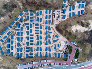 Drone shot of entire resort Qurios in Bloemendaal aan Zee, Netherlands