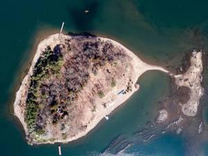 Drone Shot of Lake Kawaguchiko with 鸕鷀嶋神社