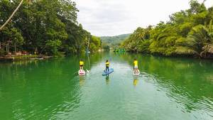 Drone shot of people kayaking in a river in Palawan Island  (Flip 2019)
