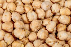 Dry raw chickpeas background. Top view (Flip 2019)