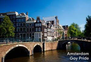 Dutch Capital city with old bridges and canal in the sun, next to title Amsterdam Gay Pride