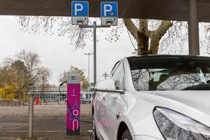 E-car parking sport: innogy charging station for electric cars in Wiesbaden, Germany