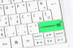 e-Commerce green keyboard button