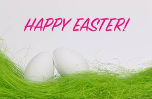 Easter eggs with Happy Easter text