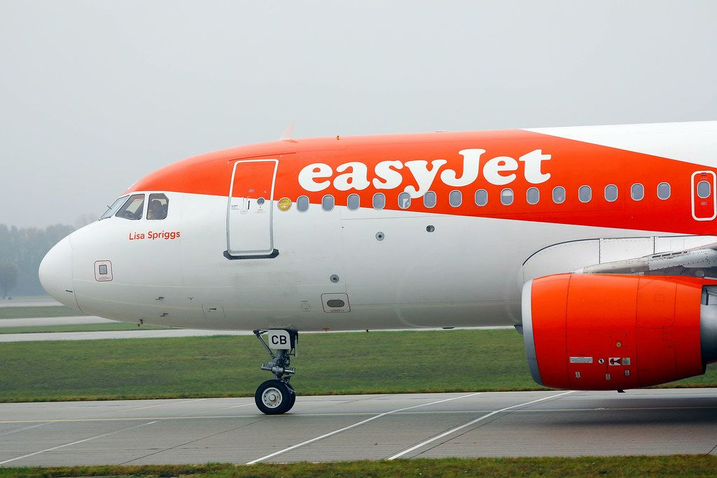 Easyjet Airbus A320, close-up view in Munich Airport