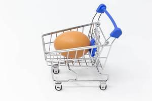 Ein Ei in einem Mini-Einkaufswagen