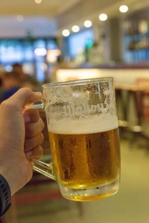 Ein Krug Bier ind er Hand eines Mannes gehalten
