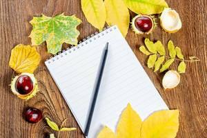Ein leeres Notizbuch mit schwarzem Bleistift auf einem braunen, hölzernen Hintergrund mit gelben Blättern und Kastanien