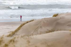 Ein Mann spaziert am Strand, Sanddünen im Vordergrund